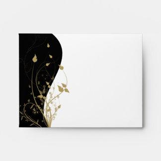 Gold Floral Curved Wedding RSVP Response Envelope
