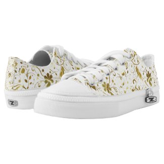 Gold Floral Damask Over White Background Printed Shoes
