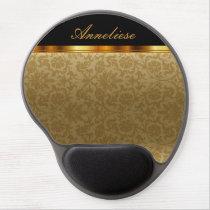 Gold Floral Damask Print Gel Mouse Pad
