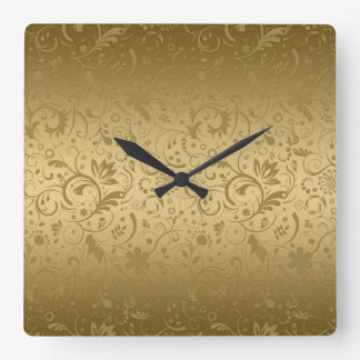 Gold Floral Damasks On Gold Background Square Wall Clock