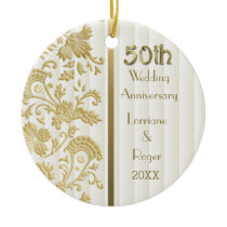 Gold Floral Elegance 50th Wedding Anniversary Ceramic Ornament