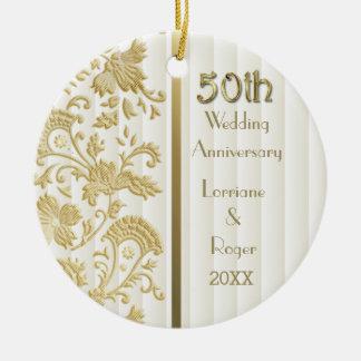 Gold Floral Elegance 50th Wedding Anniversary Ceramic Ornament