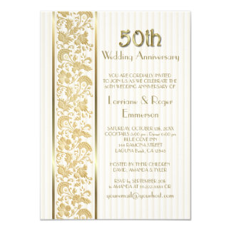 Gold Floral Elegance 50th Wedding Anniversary 4.5x6.25 Paper Invitation Card