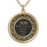 Gold Floral Elegance 50th Wedding Anniversary Pendant