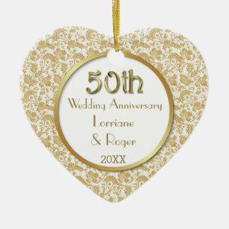Gold Floral Elegance 50th Wedding Anniversary Ornament