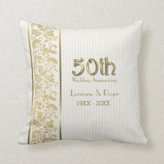 Gold Floral Elegance 50th Wedding Anniversary Pillow