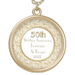 Gold Floral Elegance 50th Wedding Anniversary Round Pendant Necklace