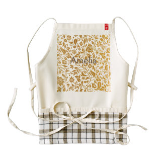 Gold,floral,elegant,on white,pattern,chic,trendy zazzle HEART apron