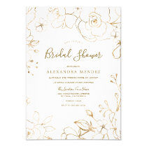 Gold Floral Elegant White Modern Bridal Shower Invitation