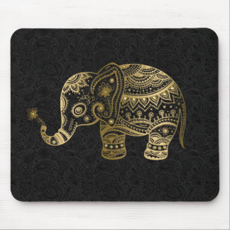 Gold Floral Elephant Black Background Mouse Pad