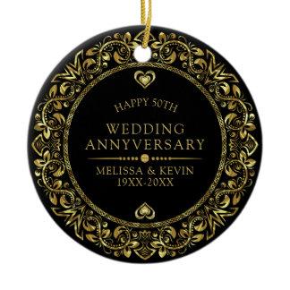 Gold floral frame 50th wedding anniversary ceramic ornament