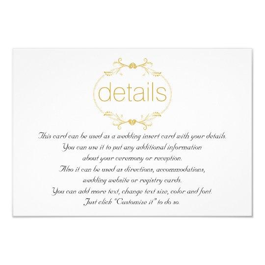 Gold Floral Frame Wedding Details Insert Card