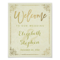 Gold Floral Frame Welcome Wedding Reception Sign