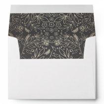 Gold Floral Grey Vintage Garden Wedding Envelope