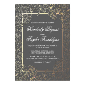 Gold Floral Grey Vintage Wedding Invitation
