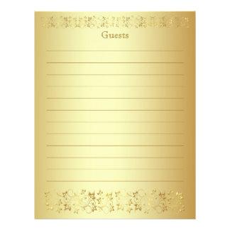 Gold Floral Guest Book Paper