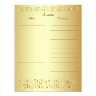 Gold Floral Guest Book Paper Customized Letterhead