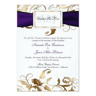 Gold Floral Invite with Purple Bow