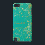 "Gold Floral IPod Touch Case Teal Blue<br><div class=""desc"">Personalized gold floral set on a teal blue background ipod touch case.</div>"