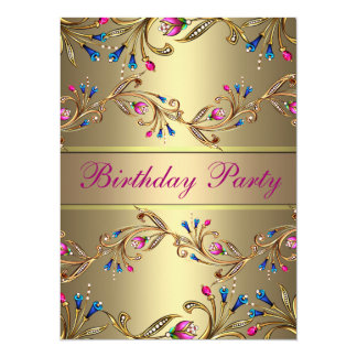 Gold Floral Jewel Birthday Invite