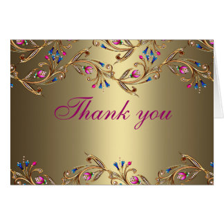 Gold Floral Jewel Thank You Card