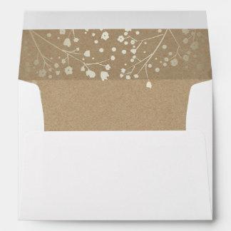 Gold Floral Kraft Vintage Garden Wedding Envelope
