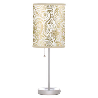 Gold Floral Lace Paisley White Background Table Lamp