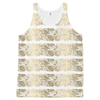 Gold Floral Lace Stripes On White All-Over Print Tank Top