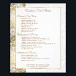 """Gold Floral Lace With White Background Flyer<br><div class=""""desc"""">Elegant gold tones floral lace over white background customizable flyer template for service menu list. Free text formatting available by contacting the designer of this design.</div>"""