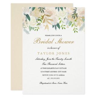Gold Floral Leaf Bridal Shower invite