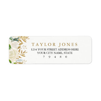 Gold Floral Leaf Return Address Label