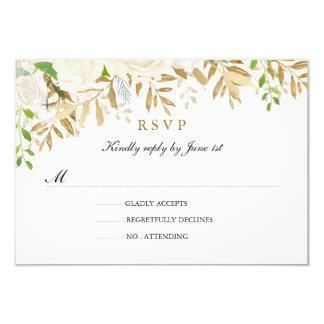 Gold Floral Leaf Watercolor Wedding RSVP Card