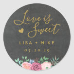 "Gold Floral Love is Sweet Wedding Favor Stickers<br><div class=""desc"">Custom-designed wedding favor round stickers/labels featuring &quot;love is sweet&quot; in modern hand calligraphy and pink floral bouquet on chalkboard texture background. Personalize with bride and groom&#39;s names and wedding date. Apply the stickers/labels on boxes,  bags,  or jars for unique DIY wedding candy favors/gifts.</div>"