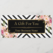 Gold Floral Makeup Hair Salon Gift Certificate