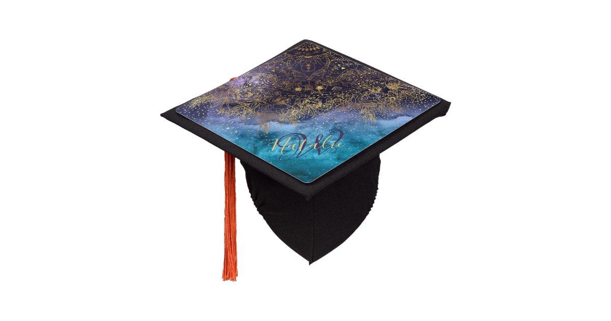 Gold Floral Mandala And Confetti Image Graduation Cap