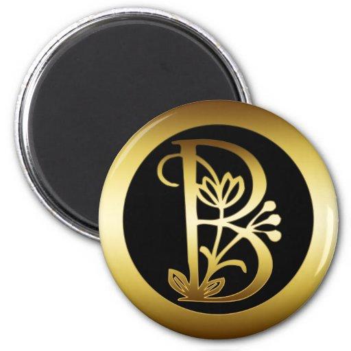 GOLD FLORAL MONOGRAM LETTER B MAGNETS