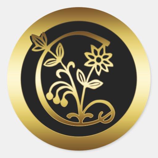 Gold floral monogram letter c classic round sticker zazzle for Letter c stickers