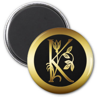 GOLD FLORAL MONOGRAM LETTER K REFRIGERATOR MAGNETS