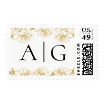 Gold Floral Monogram Postage Stamp