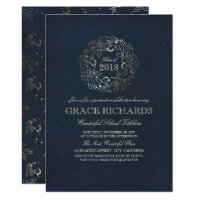 Gold Floral Monogram Vintage Navy Graduation Party Card