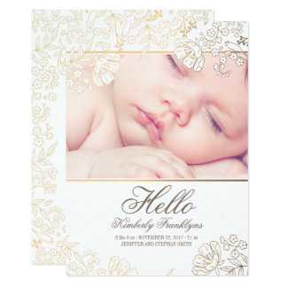 Gold Floral Newborn Baby Photo Birth Announcement