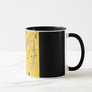 Gold Floral on Black Border Mug