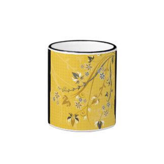 Gold Floral on Black Border Ringer Coffee Mug
