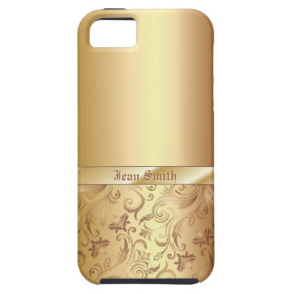Gold Floral Ornament Metal Texture iPhone 5 Case