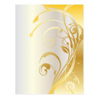 Gold floral ornaments postcard