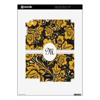 Gold Floral Pattern Monogram eReader Skins For The iPad 2