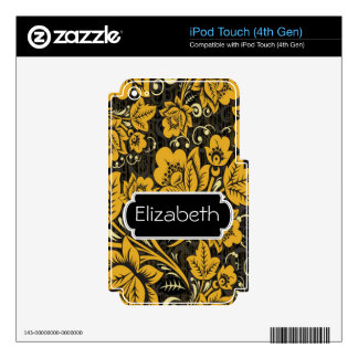 Gold Floral Pattern Monogram MP3 Skin iPod Touch 4G Skin