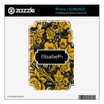 Gold Floral Pattern Monogram Phone Skin Decal For The iPhone 3GS