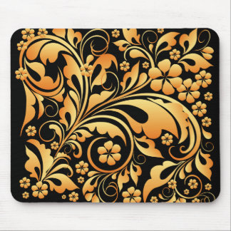 gold floral pattern mouse pad