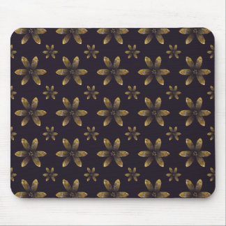 Gold Floral Pattern on Royal Purple Background Mouse Pad
